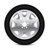 Alloy wheel with tyre. Vector 3d illustration isolated on white background vector illustration