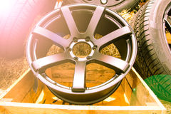 Alloy wheels. Close up of alloy wheels Stock Photography