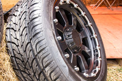 Alloy wheels. Close up of alloy wheels Stock Image