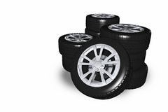 Alloy Wheels Pile. Isolated on White. 3D Rendered Illustration. Transportation Objects Collection stock illustration