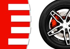 Alloy wheels of racing car with metal brake disc and red caliper. With banner and copy space your text writing for decorative, Automotive parts concept Royalty Free Stock Images