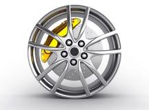 Alloy wheels for sports car. 3d render stock illustration