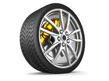 Alloy wheels for sports car. 3d render Royalty Free Stock Photo