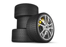 Alloy wheels for sports car. 3d render royalty free illustration