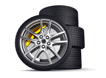 Alloy wheels for sports car. 3d render Stock Image