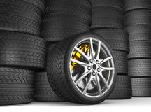 Alloy wheels for sports car Stock Photos