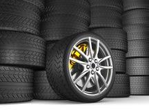 Alloy wheels for sports car. 3d render vector illustration