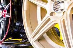 Alloy wheels in store. Close up alloy wheels in store Stock Photos