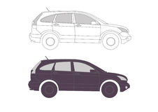 Allroad Car in vectors for presentation. Car in outline vectors for presentation Stock Image