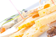 Allsorts from different grades of cheese. Canape Stock Images
