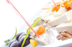 Allsorts from different grades of cheese. Canape Stock Image