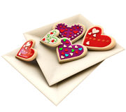 Allsorts heart-shaped cookies for Valentine's Day Royalty Free Stock Image