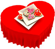 Allsorts heart-shaped cookies for Valentine's Day Royalty Free Stock Images