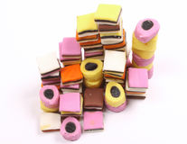 Allsorts liquorice in birdsview Royalty Free Stock Photos