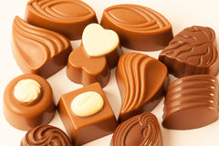 Allsorts made from chocolate. Allsorts made from milk chocolate Royalty Free Stock Photo