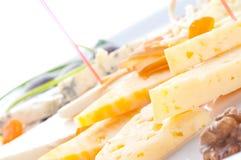Allsorts van verschillende rangen van kaas Stock Afbeeldingen