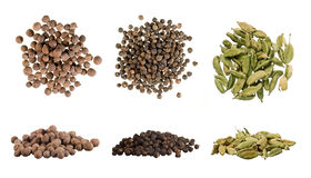 Allspice, black pepper and cardamom Stock Photography