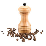 Allspice and a mill for grinding. Allspice, and a mill for grinding on a white background stock photo