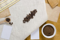 Allspice peas and ground. On linen napkin royalty free stock images