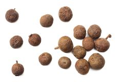 Allspice pepper isolated on white background. Peppercorn. Macro. top view stock image