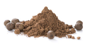 Allspice Powder (isolated on white) stock images