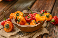 Allspice red and yellow in the wooden bowl Stock Photo