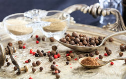 Allspice seeds and powder in spoons. Allspice seeds and powder in a tray royalty free stock photos