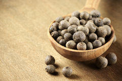 Allspice in spoon. Allspice peppercorns in wooden spoon on wooden background stock images
