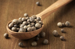 Allspice in spoon. Allspice peppercorns in wooden spoon on wooden background royalty free stock photo