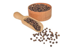 Allspice in a wooden bowl. Black pepper. Spice. isolated on white background Stock Image