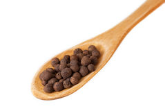 Allspice in wooden spoon isolated on white Stock Photography