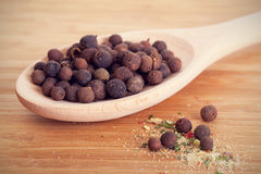 Allspice in a wooden spoon Royalty Free Stock Images