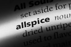 Allspice. Word in a dictionary.  concept Stock Photography