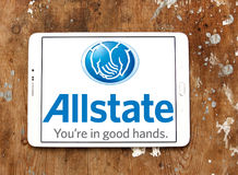 Allstate insurance company logo. Logo of Allstate insurance company on samsung tablet on wooden background  . The Allstate Corporation is the second largest Stock Photography
