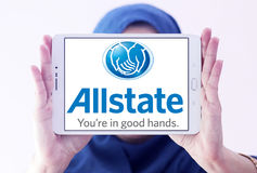 Allstate insurance company logo. Logo of Allstate insurance company on samsung tablet holded by arab muslim woman . The Allstate Corporation is the second Stock Photography