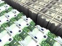 Allt dollar och euro dem emellan ett klippbrants- 3d Royaltyfria Bilder