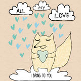 Allt mitt romantiskt kort för förälskelse med det romantiska meddelandet stock illustrationer