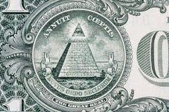 allt se för öga Frimurar- tecken Muraresymbol 1 en dollar Royaltyfri Bild