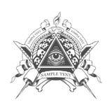 allt se för öga Ockult esoteriskt för mystiker Arkivfoto