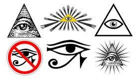 Allt seende öga av försyn, ny världsordning för illuminati, ställde in vektorn stock illustrationer