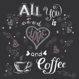 Allt som du behöver, är förälskelse och kaffe, rolig hand dragen bokstäver på D vektor illustrationer
