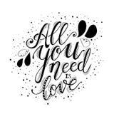 Allt som du behöver, är förälskelsehandbokstäver och garnering vektor illustrationer