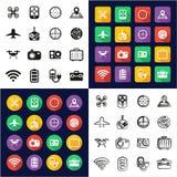 Allt surr eller Quadcopter i en symboler uppsättning för design för svart- & vitfärglägenhet Freehand Arkivbild