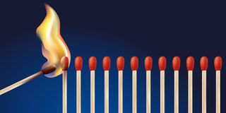 Allumage d'un alignement de match avec une flamme illustration de vecteur