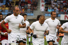 Allumette amicale française USAP de rugby contre emballer la métro Photos libres de droits