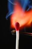 Allumette de cire sur l'incendie Image stock
