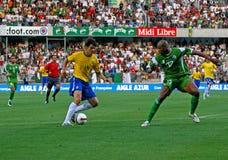Allumette de football amicale Brésil contre l'Algérie Images libres de droits