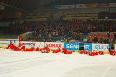 Allumette finale de Ligue de Hockey d'université image stock