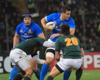Allumette Italie de rugby contre l'Afrique du Sud - la semelle de Josh Image libre de droits