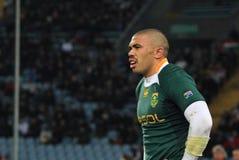 Allumette Italie de rugby contre l'Afrique du Sud - le Bryan Habana Images libres de droits